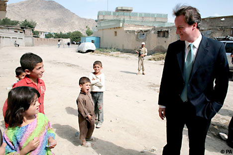 David Cameron speaking to Afghan children